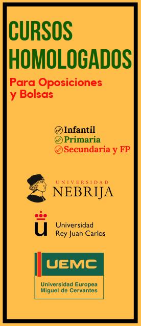 cursos puntos bolsas de interinos educación oposiciones profesores maestros homologados