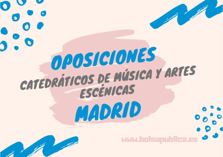 oposiciones madrid profesores música y artes escénicas