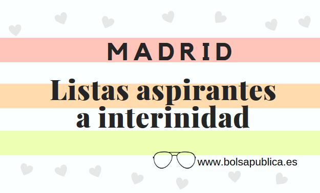listas de aspirantes profesores a interinidad madrid curso 2019-20