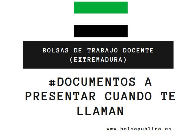 Documentos a presentar por los interinos docentes cuando se les llamar a trabajar en Educación de Extremadura