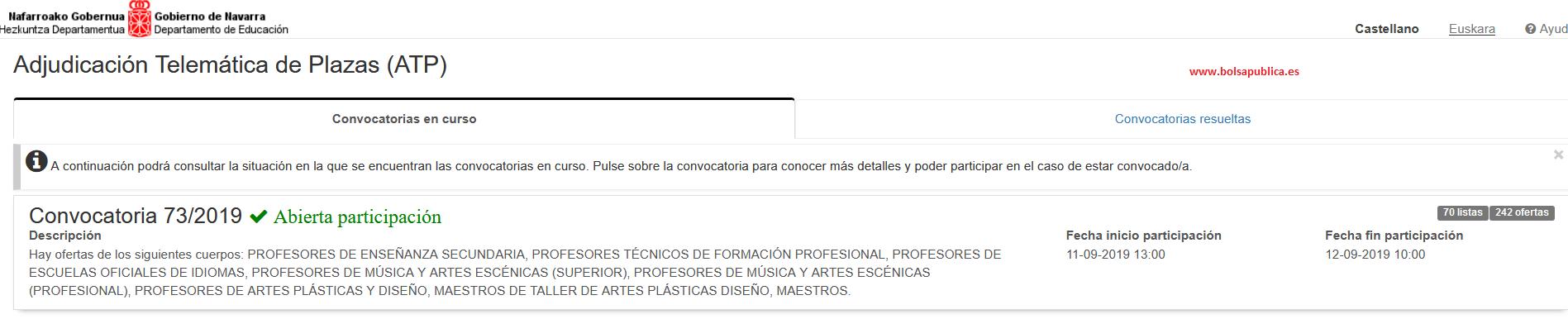 Gobierno de Navarra ATP (adjudicación telemática de plazas