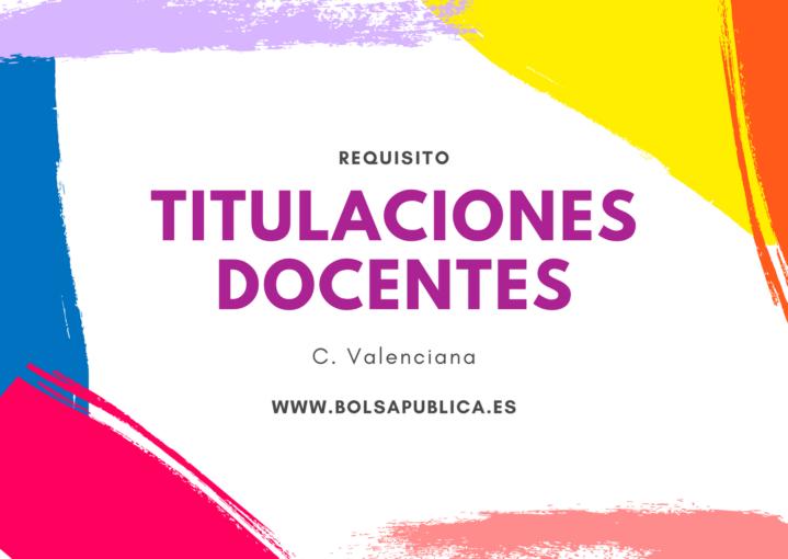 Titulaciones requisito ser maestro o profesor en Comunidad Valenciana
